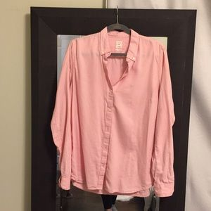 Gap fitted boyfriend pink blouse